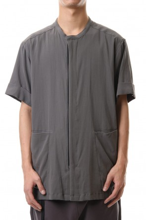 The Viridi-anne 20SS Hard twist Double weave Short sleeve shirt Gray