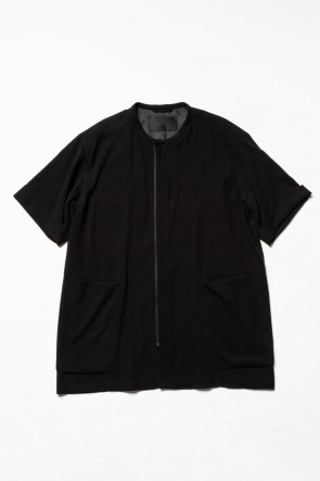 The Viridi-anne 20SS Hard twist Double weave Short sleeve shirt Black