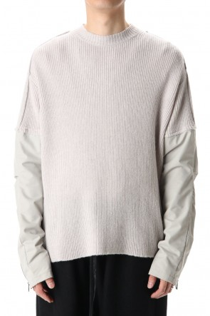 The Viridi-anne 20-21AW Crew neck  Sleeve water repellency Stretch knit L.Gray