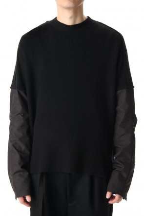 The Viridi-anne 20-21AW Crew neck  Sleeve water repellency Stretch knit Black