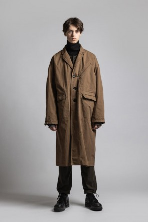 The Viridi-anne21-22AWCORDURA'NYCO' チェスターコート Brown Duck