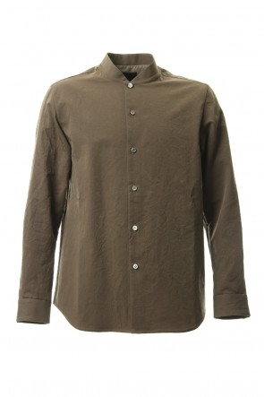 Yamauchi 20SS Salt shrink processing No Collar Shirt Brown Khaki