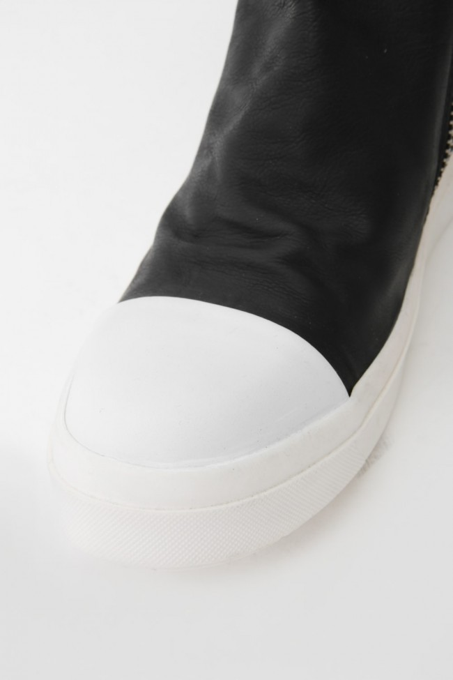 "16AW 'RING""  Side ZIP Flap Sneakers BLACK×WHITE"