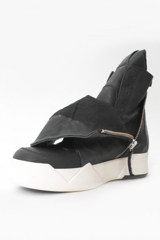 """16AW 'RING"""" Layered Side ZIP Sneakers BLACK×WHITE"""