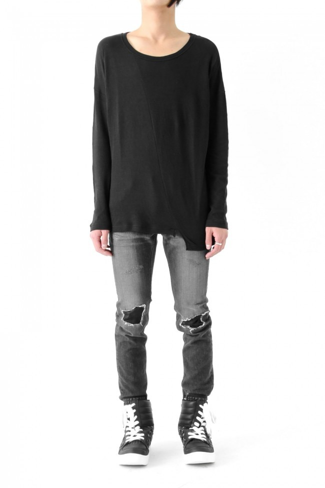 17SS Aymmetry loose pullover BLACK
