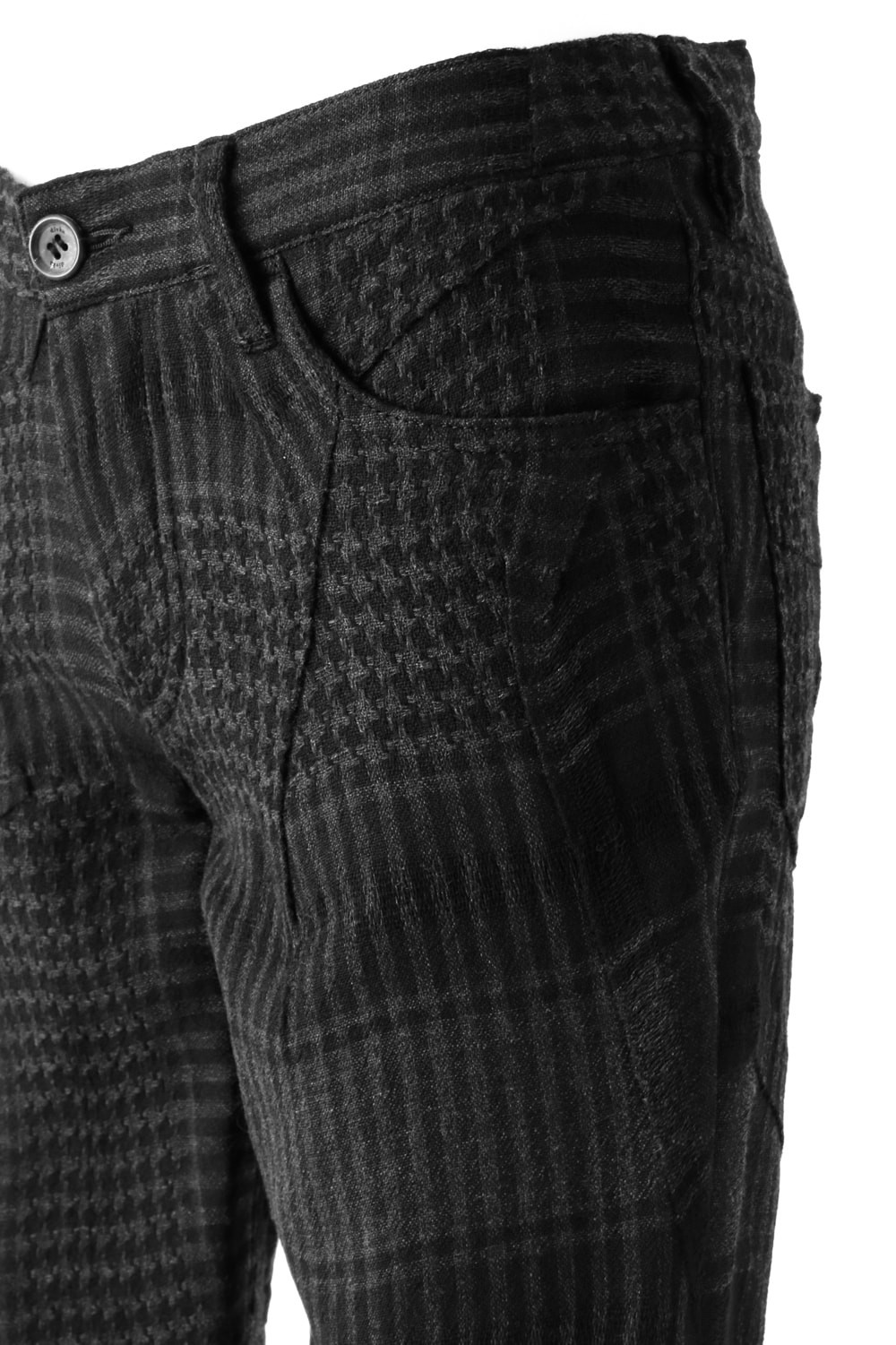 Distorted Check Needle Punch Pants - 07-P03