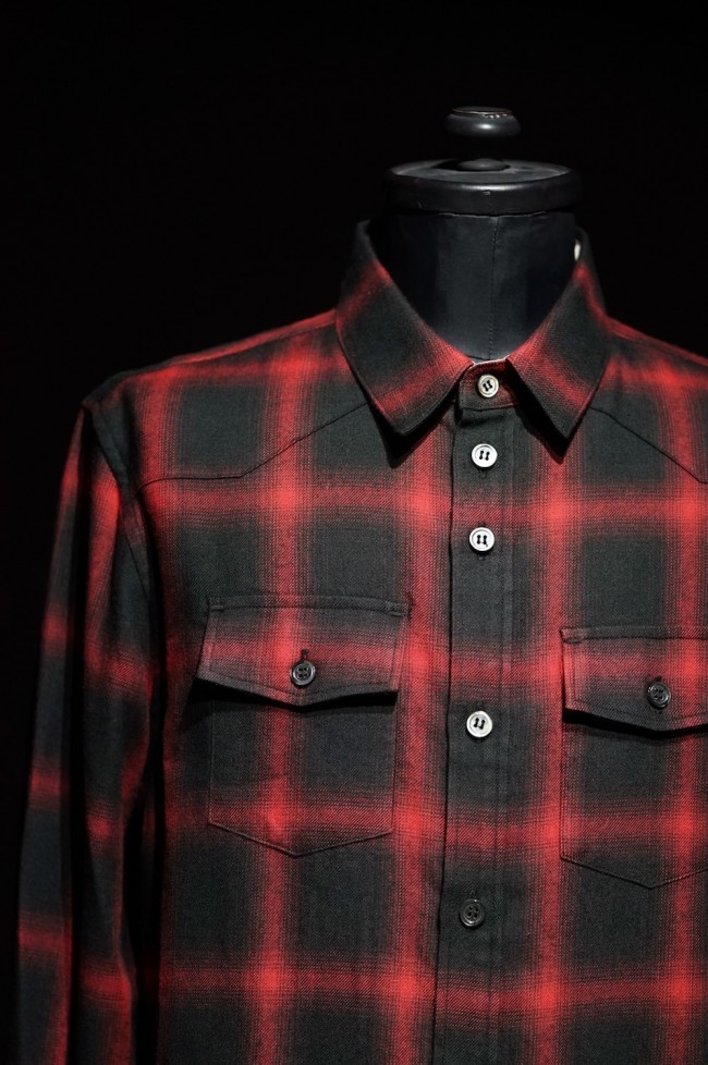 16W Check western shirt RED×BLACK CHECK
