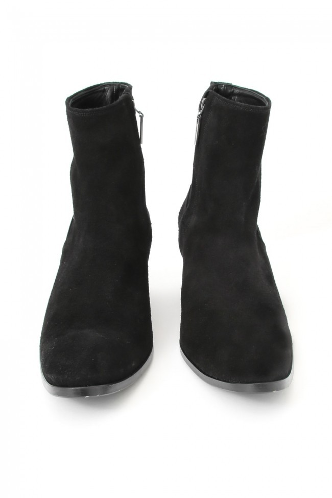16AW Velour Suede Heel Boots BLACK