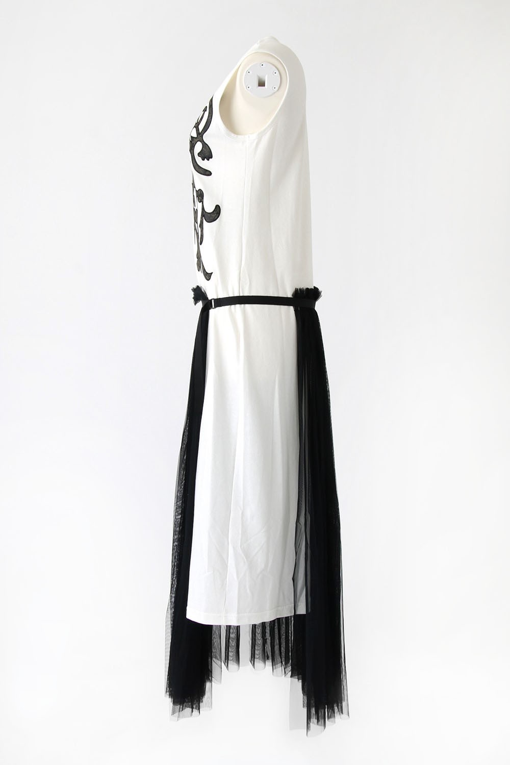 LEATHER APPLIQUE JERSEY DRESS - SATOKO OZAWA