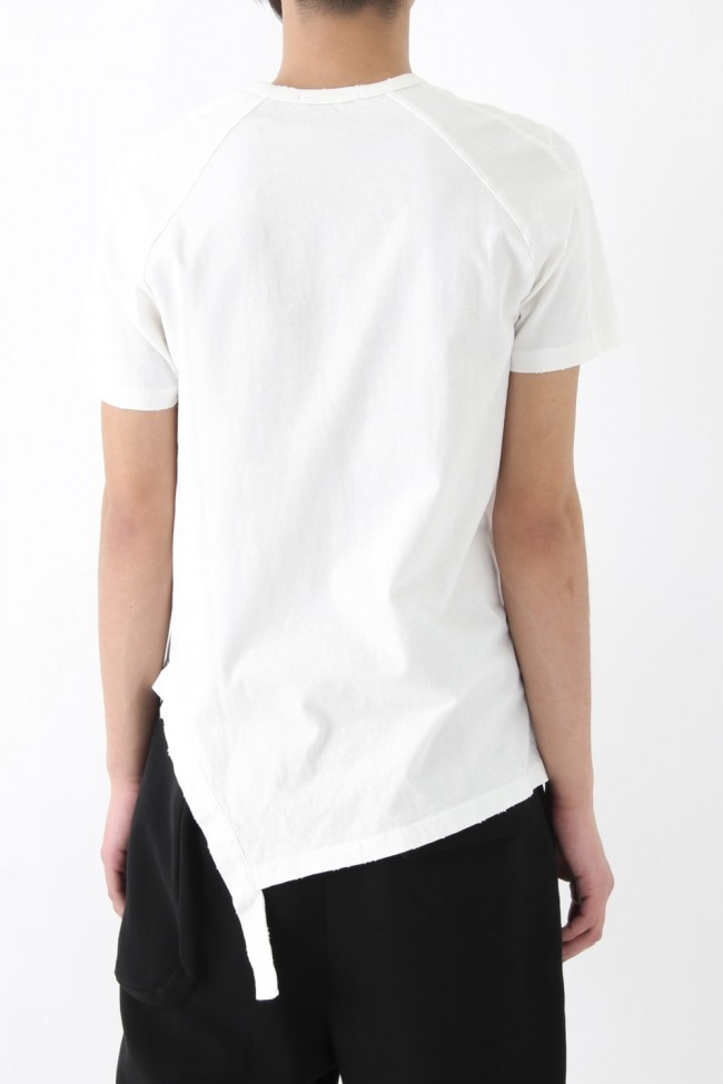 17SS Damage Finishing Assymetric Hem T WHITE