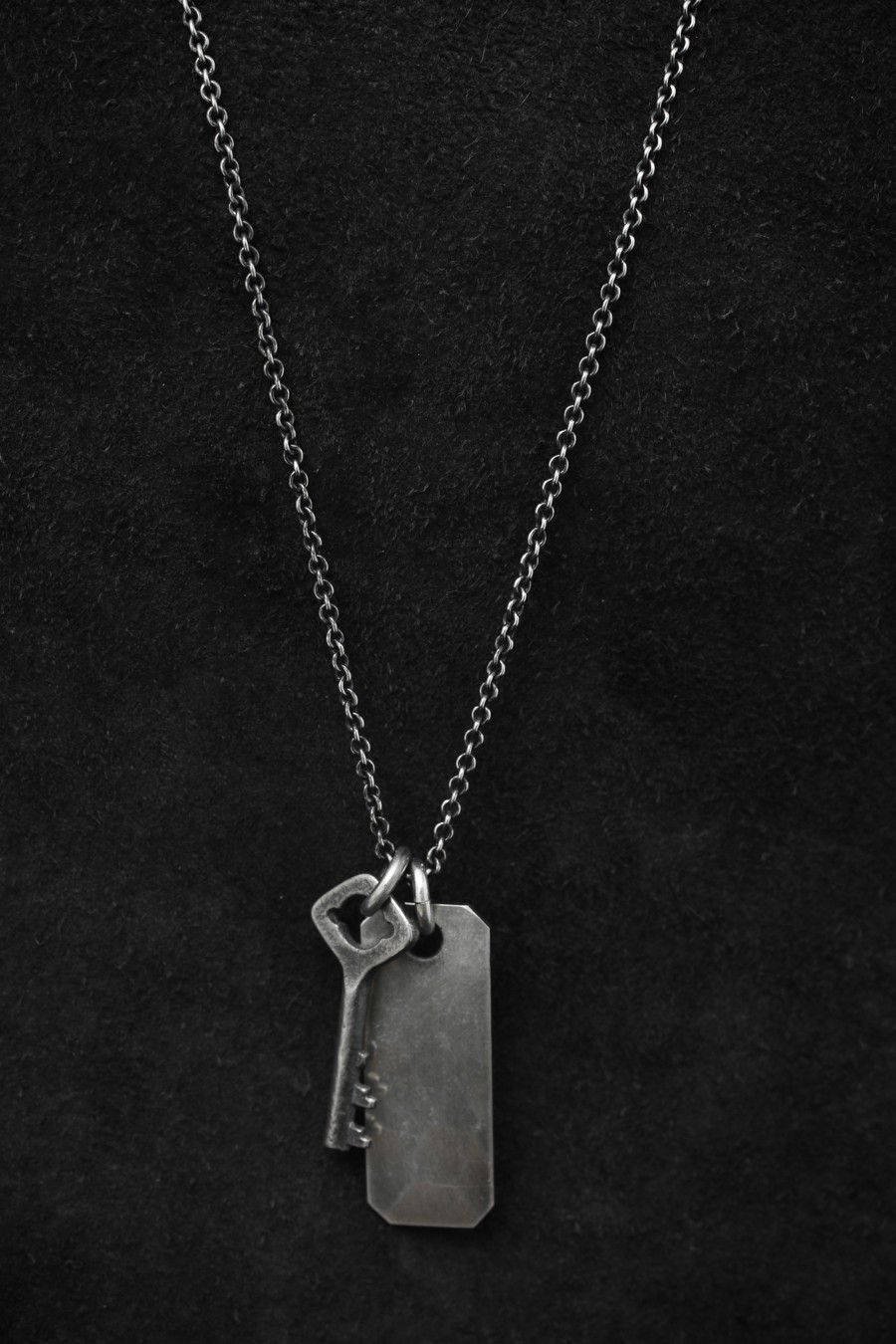 Fine Chain Key + Tag Necklace