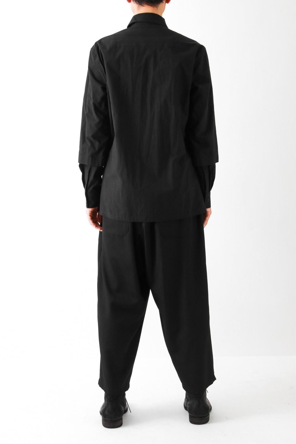 Double Layered Sleeve Fly Front Shirt