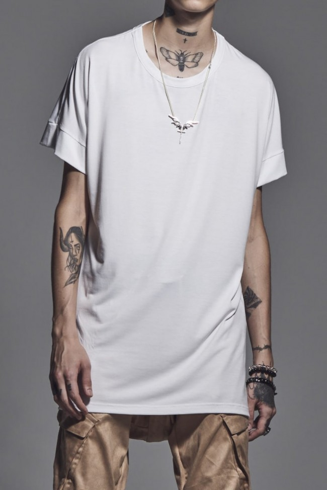 Drop Shoulder T-Shirts White x Black Print