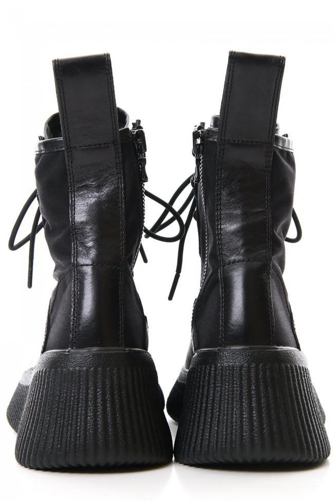 Side zip lace-up boots
