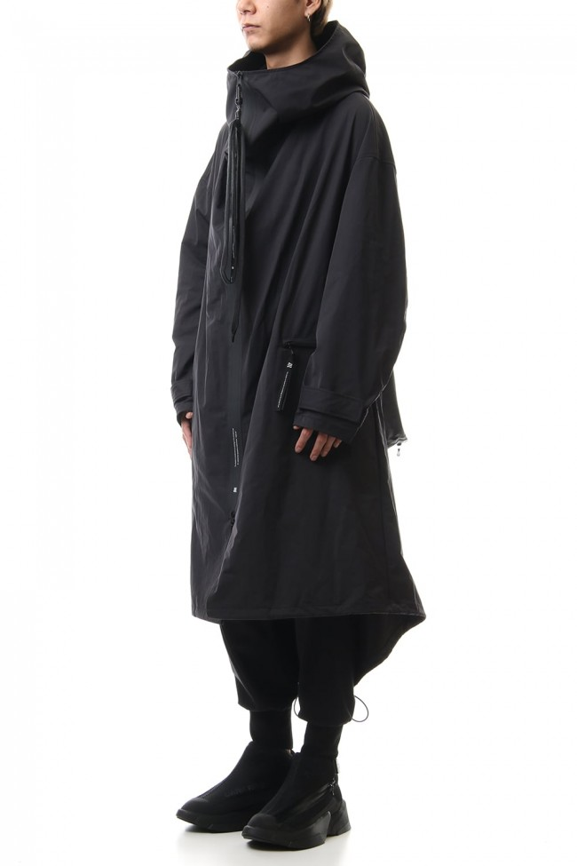 High neck long coat