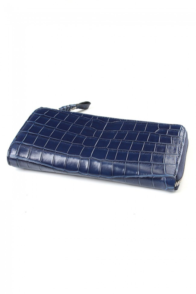 Tower Wallet Cow Crocodile Ai Indigo