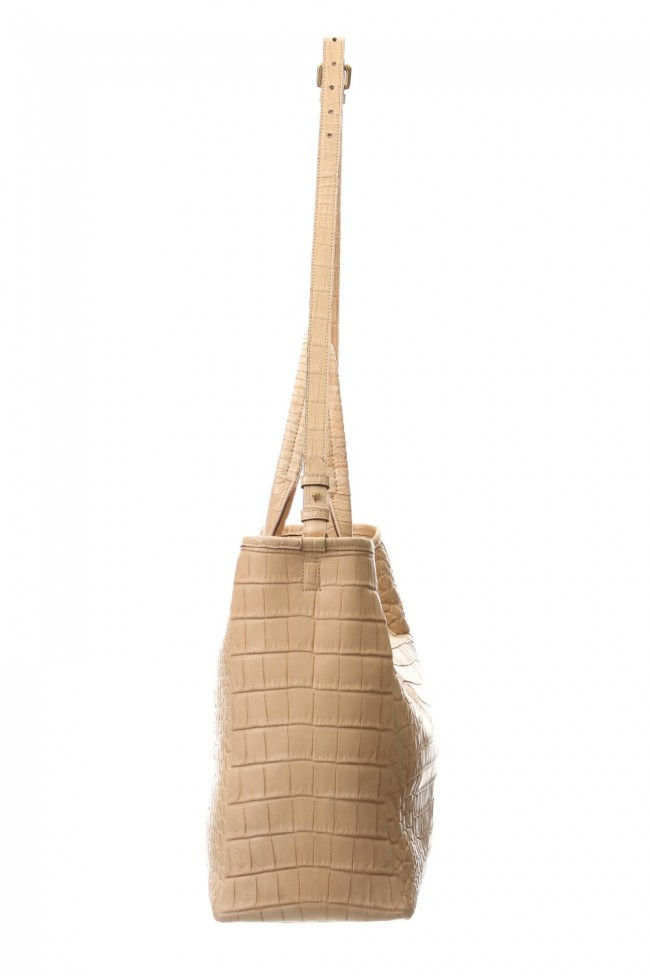 Cut off Tote BIG Crocodile Natural