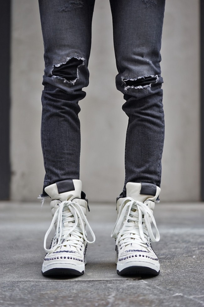 """16W Side Zip High Top Sneakers """"MASSIVE - STADS"""" WHITE"""