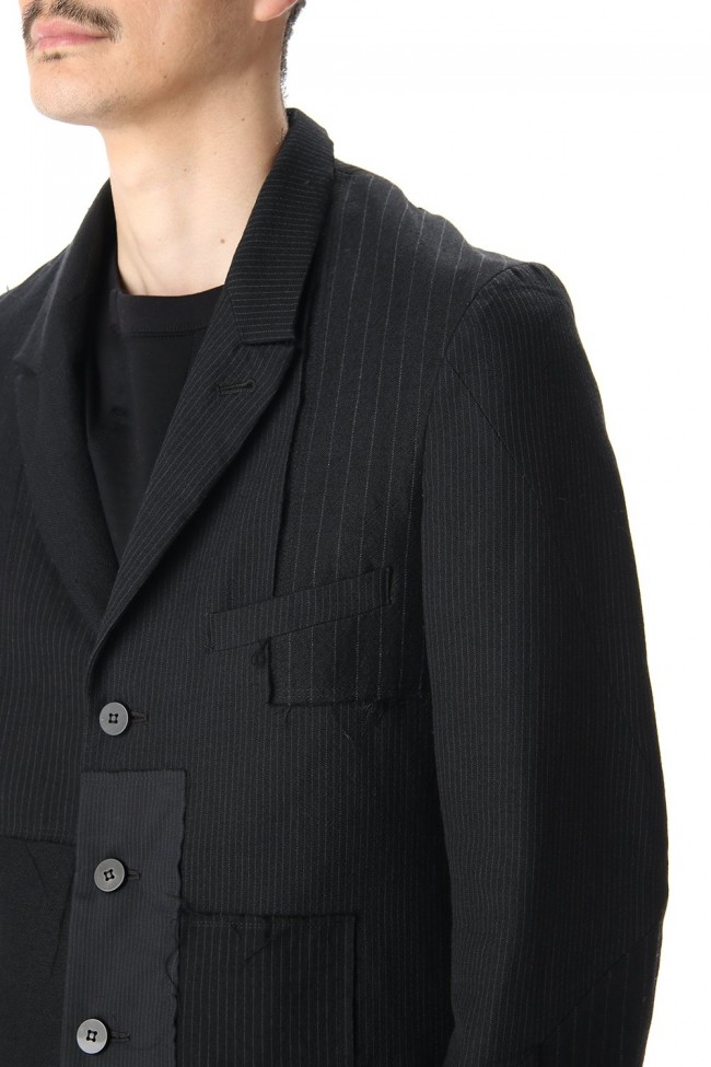 Peaked Lapel Patchwork Jacket