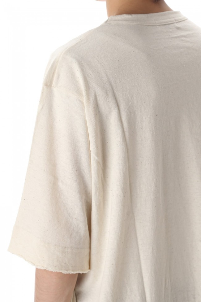 Old cotton Top stitch Cut off Round neck Short sleeve T-shirt Ivory