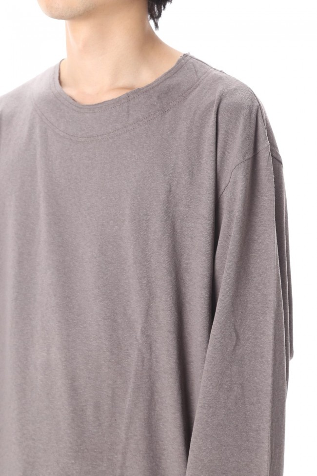 Old cotton Top stitch Cut off Round neck Long sleeve T-shirt Gray