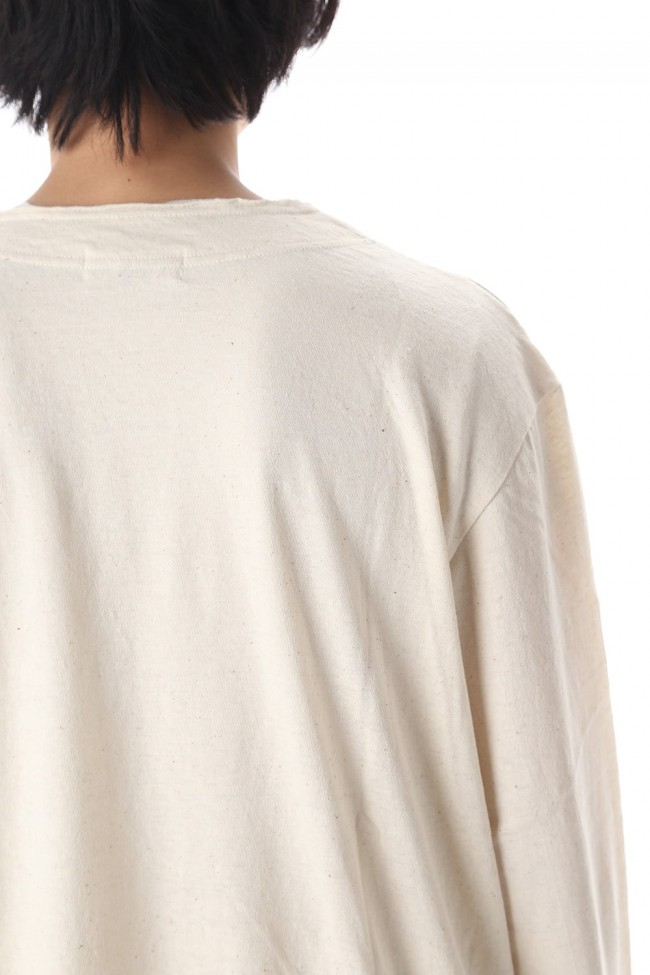 Old cotton Top stitch Cut off Round neck Long sleeve T-shirt Ivory