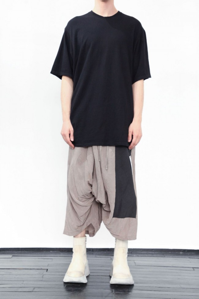 Shirring S/S cut & sewn Black