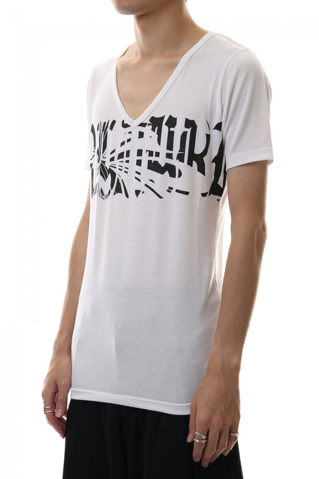 V-Neck T-Shirts White x Black Print