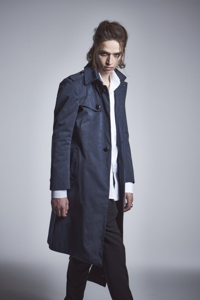 Single Trench Coat Navy