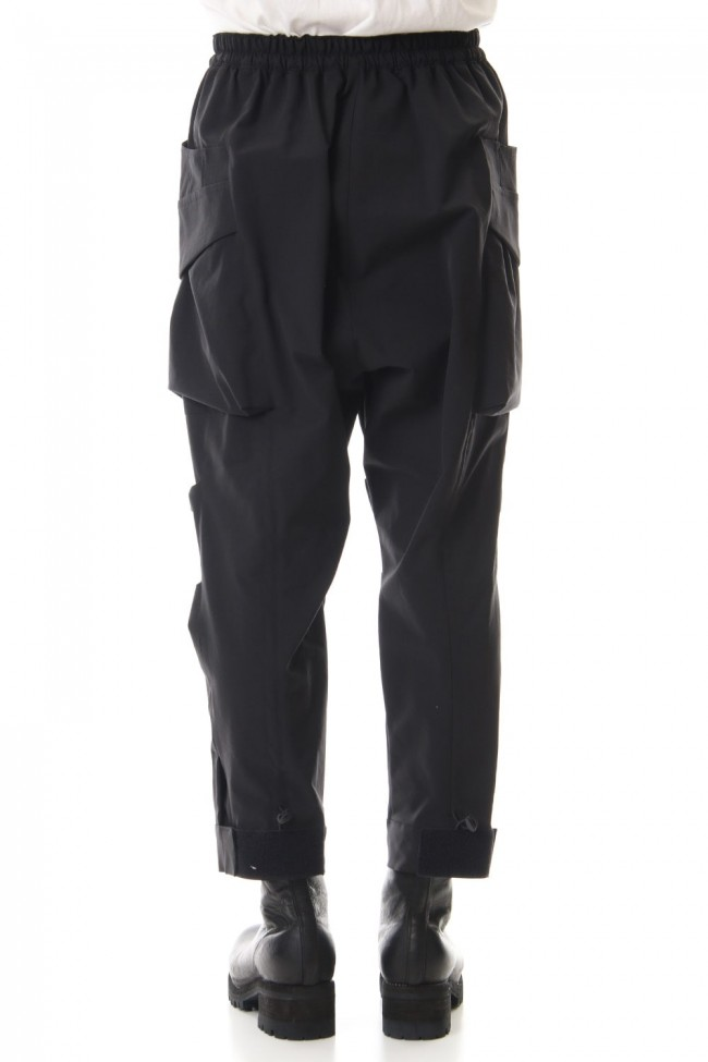 Water-repellent Stretch Gather Tactical pants Black