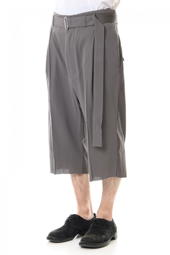 Hard twist Double weave Three-quarter length pants Gray