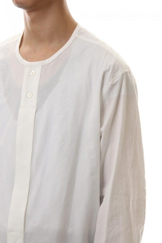 Salt shrinkage Long sleeve Collarless shirt