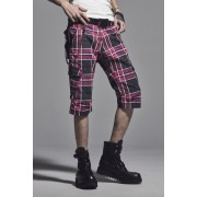 Short Cargo Pants-Pink x Gray Check-S