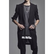 Stand Collar Long Jacket-Black-S