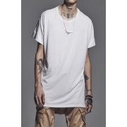 Drop Shoulder T-Shirts White x Black Print-White×Black-S