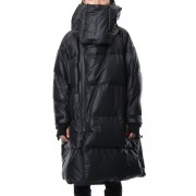 Neck Cover Hooded Down Coat-Black-1