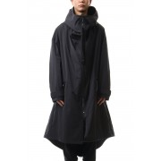 High neck long coat-Black-1