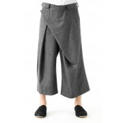 Silk Noil Denim Pants-Black-3