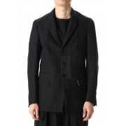 Peaked Lapel Patchwork Jacket-Black / Stripe-1