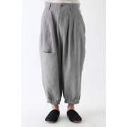 Switched Part Back Pocket Pants-Gray x Beige-2