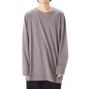 Old cotton Top stitch Cut off Round neck Long sleeve T-shirt Gray-Gray-3