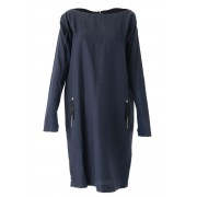 Wool / Cotton Twill Washed One-piece dress - 04-O02-Navy-2