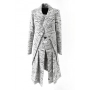 Abstract Tweed Coat - DK11-11-C02 - divka-Black x White-2
