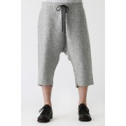 Nep Wool Mohair Tweed Easy Half Pants-Snow Gray-2