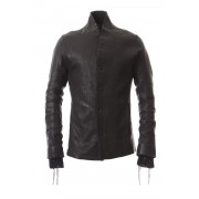 Japan Calf Leather Tailored Shirt JKT-Black-1