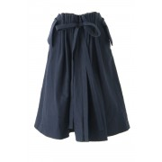 Wool / Cotton Twill Washed Skirt - 04-S02-Navy-1