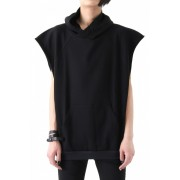 17SS Over size sleeveless hoodie-BLACK-1