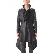 Frill Leather Long Shirts-Black-S