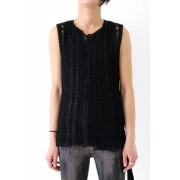 17SS Black no sleeve abstruct rough construction knit-BLACK-1