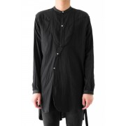 17SS NO COLLAR LONG SHIRT -BLACK-M